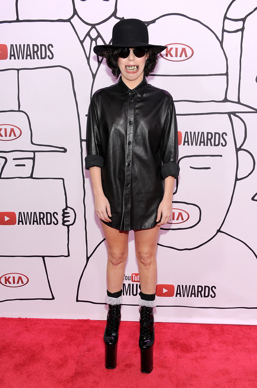 Description of . Singer Lady Gaga attends the YouTube Music Awards 2013 on November 3, 2013 in New York City.  (Photo by Dimitrios Kambouris/Getty Images)