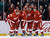 Detroit Red Wings left wing Johan Franzen (93), of Sweden, is congratulated by teammates after scoring during the second period of an NHL hockey game against the Colorado Avalanche in Detroit, Tuesday, March 5, 2013. (AP Photo/Carlos Osorio)