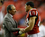 Atlanta Falcons owner Arthur Blank talks to Tony Gonzalez before the NFL football NFC Championship game against the San Francisco 49ers Sunday, Jan. 20, 2013, in Atlanta. (AP Photo/David Goldman)