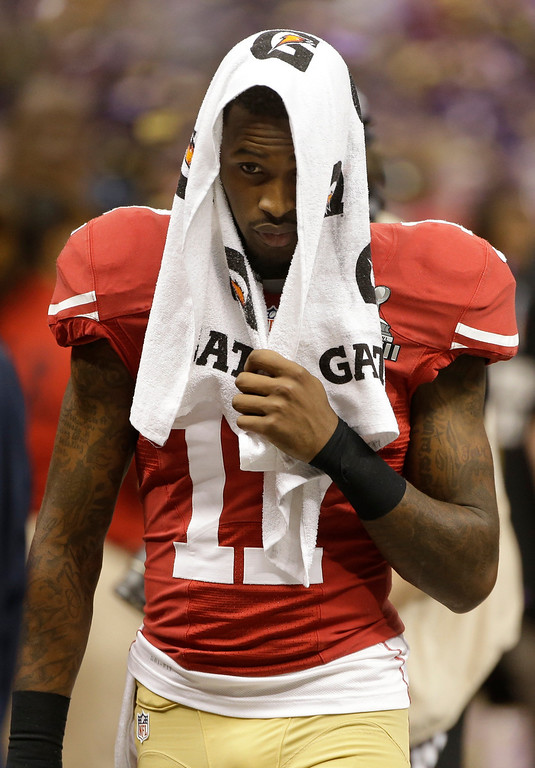 Description of . San Francisco 49ers wide receiver A.J. Jenkins (17) walks off the field after losing 34-31 to the Baltimore Ravens in the NFL Super Bowl XLVII football game, Sunday, Feb. 3, 2013, in New Orleans. (AP Photo/Mark Humphrey)