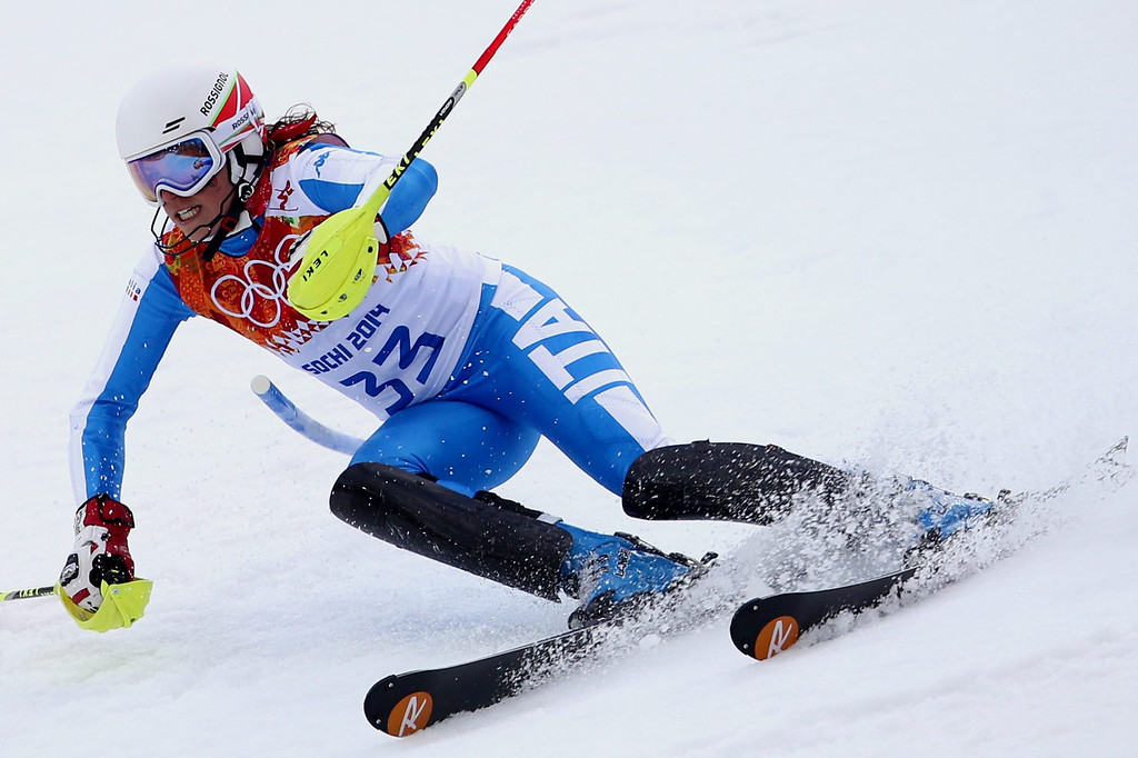 Description of . Federica Brignone of Italy in action during the first run of the Women's Slalom race at the Rosa Khutor Alpine Center during the Sochi 2014 Olympic Games, Krasnaya Polyana, Russia, 21 February 2014.  EPA/KARL-JOSEF HILDENBRAND
