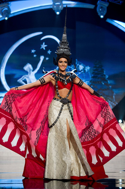 Description of . Miss Thailand Nutpimon Farida Waller performs onstage at the 2012 Miss Universe National Costume Show at PH Live in Las Vegas, Nevada December 14, 2012. The 89 Miss Universe Contestants will compete for the Diamond Nexus Crown on December 19, 2012. REUTERS/Darren Decker/Miss Universe Organization/Handout