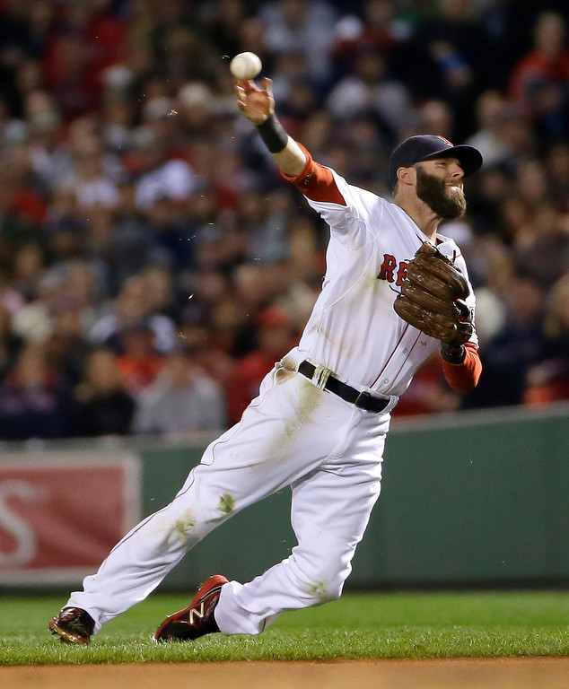 Description of . Boston Red Sox's Dustin Pedroia throws out Detroit Tigers' Austin Jackson in the third inning during Game 2 of the American League baseball championship series Sunday, Oct. 13, 2013, in Boston. (AP Photo/Matt Slocum)