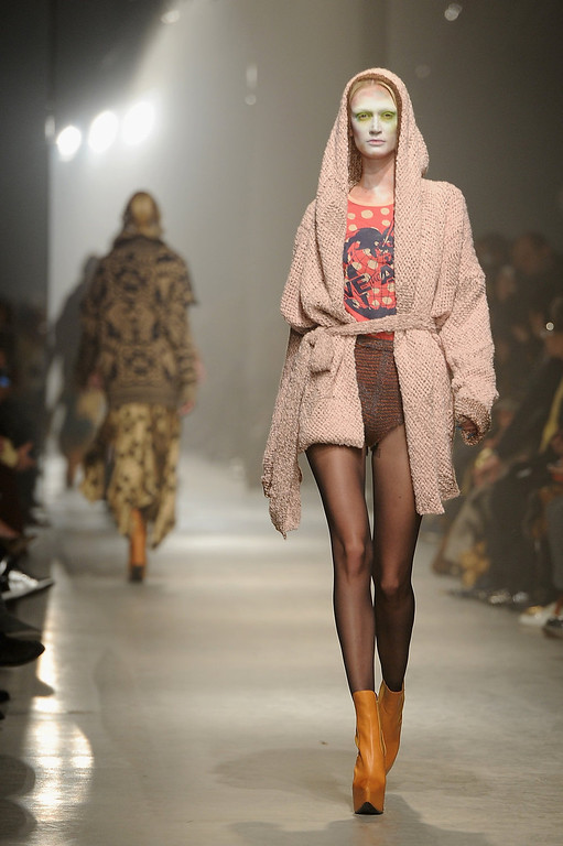 Description of . A model walks the runway during the Vivienne Westwood Fall/Winter 2013 Ready-to-Wear show as part of Paris Fashion Week on March 2, 2013 in Paris, France.  (Photo by Pascal Le Segretain/Getty Images)