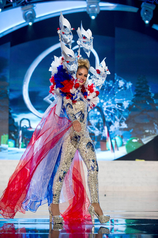Description of . Miss Netherlands Nathalie den Dekker performs onstage at the 2012 Miss Universe National Costume Show at PH Live in Las Vegas, Nevada December 14, 2012. The 89 Miss Universe Contestants will compete for the Diamond Nexus Crown on December 19, 2012. REUTERS/Darren Decker/Miss Universe Organization/Handout