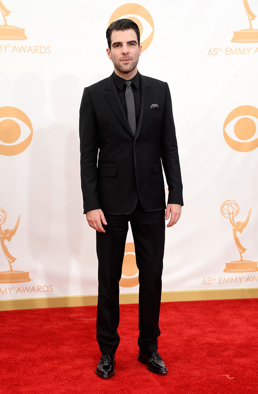 Description of . Actor Zachary Quinto arrives at the 65th Annual Primetime Emmy Awards held at Nokia Theatre L.A. Live on September 22, 2013 in Los Angeles, California.  (Photo by Frazer Harrison/Getty Images)