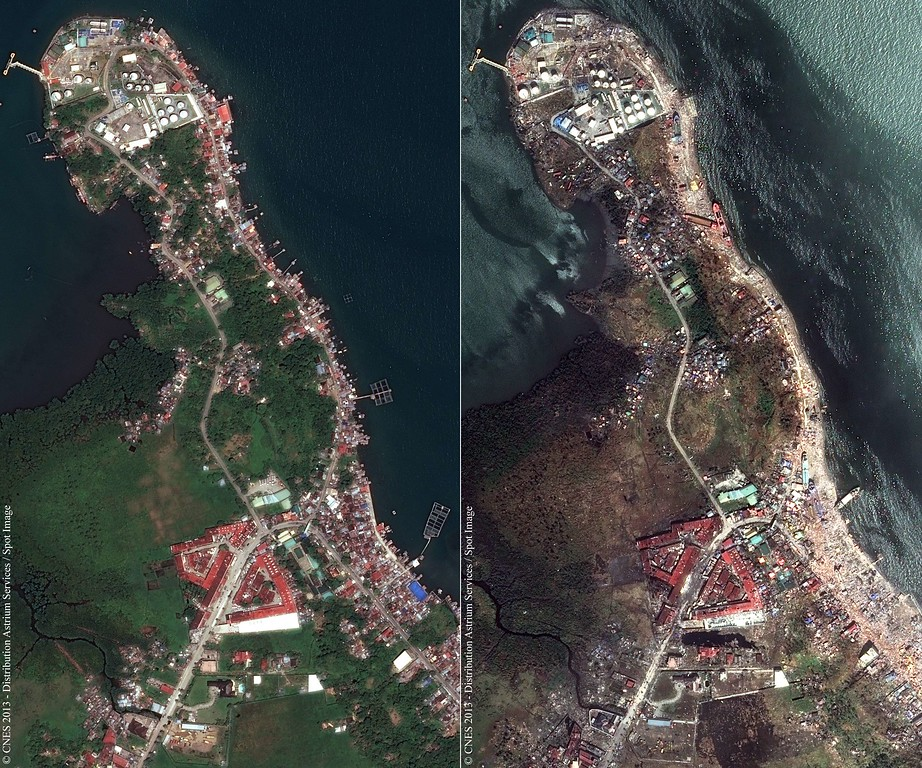 Description of . This combination of handout satellite photos obtained from Astrium Services on November 14, 2013, shows a view of part of the city of Tacloban in the Philippines on March 7, 2013 (L) juxtaposed with a view of the same area taken on November 13, 2013, after the passage of typhoon Haiyan. The United Nations estimates 10,000 people may have died in Tacloban alone, where five-meter (16-foot) waves flattened nearly everything in their path as they swept hundreds of meters across the low-lying land during the passage of typhoon Haiyan.  AFP PHOTO / CNES / ASTRIUM SERVICES / SPOT IMAGE/AFP/Getty Images