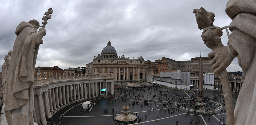 Description of . A picture shows St Peter\'s square before the conclave on March 12, 2013 at the Vatican.   AFP PHOTO / TIZIANA FABI/AFP/Getty Images