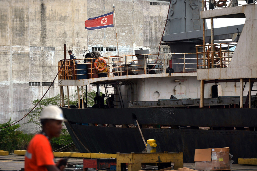 Description of . View of the North Korean vessel Chong Chong Gang at Manzanillo harbor in Colon, 90 km from Panama City on July 16, 2013. AFP PHOTO / Rodrigo ARANGUA/AFP/Getty Images