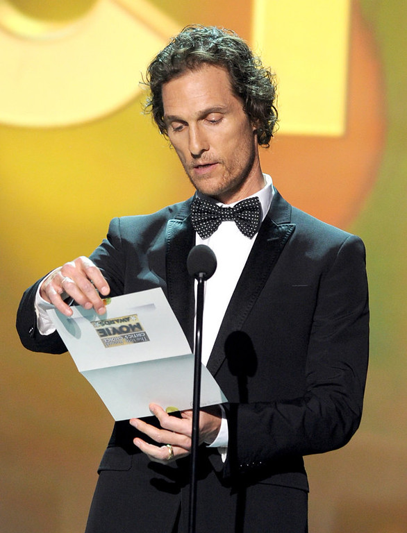 Description of . Presenter Matthew McConaughey speaks onstage at the 18th Annual Critics' Choice Movie Awards held at Barker Hangar on January 10, 2013 in Santa Monica, California.  (Photo by Kevin Winter/Getty Images)