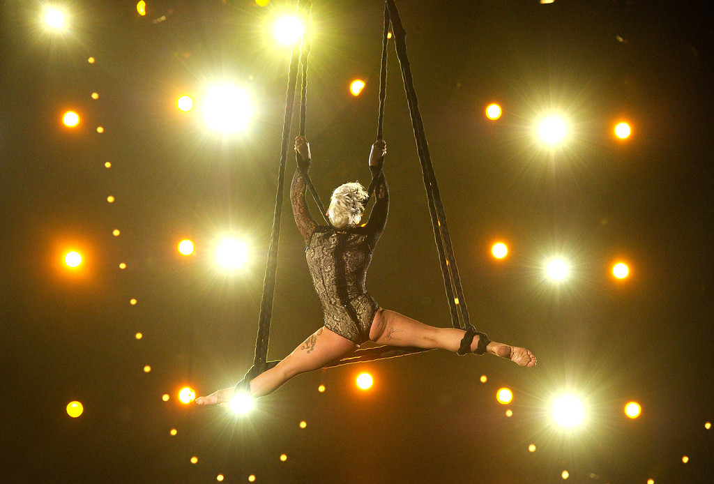 Description of . Singer Pink performs onstage during the 56th GRAMMY Awards at Staples Center on January 26, 2014 in Los Angeles, California.  (Photo by Kevork Djansezian/Getty Images)