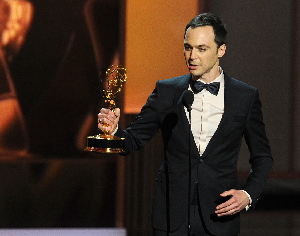 Description of . Winner of the Best Lead Actor in a Comdey Series, Jim Parsons speaks onstage during the 65th Annual Primetime Emmy Awards held at Nokia Theatre L.A. Live on September 22, 2013 in Los Angeles, California.  (Photo by Kevin Winter/Getty Images)