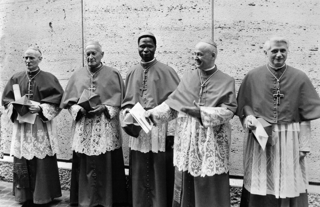 Description of . This photo taken June 7, 1977 shows German cardinal Joseph Ratzinger (R) at the Vatican city next to Cardinals Benelli (2nd R), Gantin (C), Tomazek (2nd L) and Gappi (L). Benin's Cardinal Gantin died on May 13, 2008 in Paris at the age of 85, according to an official source in Cotonou. STF/AFP/Getty Images