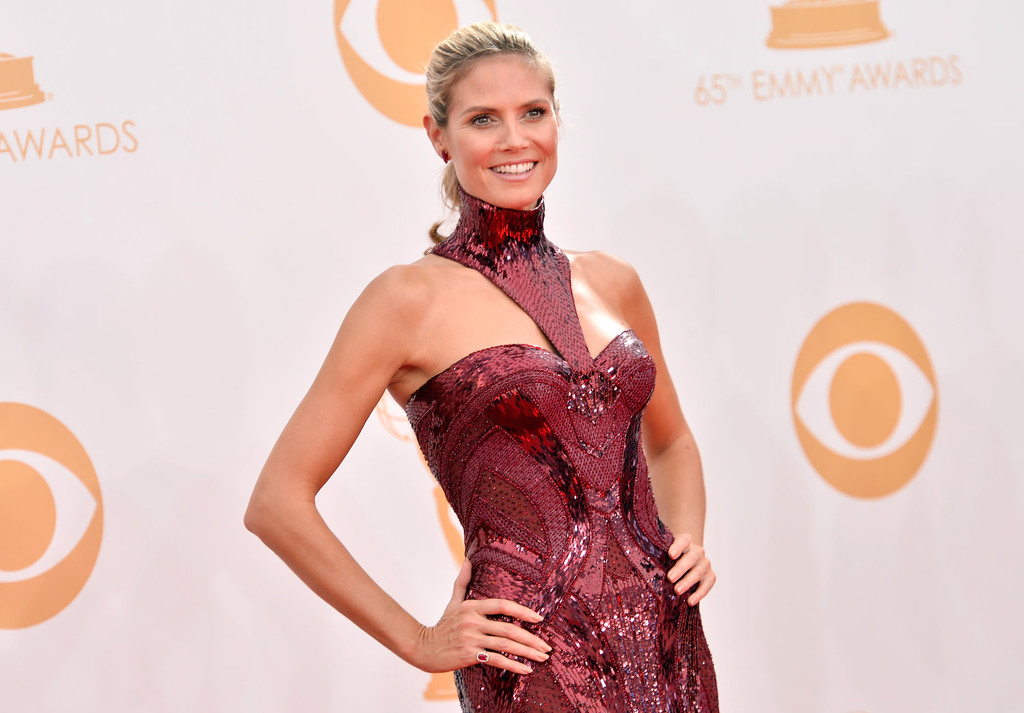 Description of . TV personality Heidi Klum arrives at the 65th Annual Primetime Emmy Awards held at Nokia Theatre L.A. Live on September 22, 2013 in Los Angeles, California.  (Photo by Frazer Harrison/Getty Images)