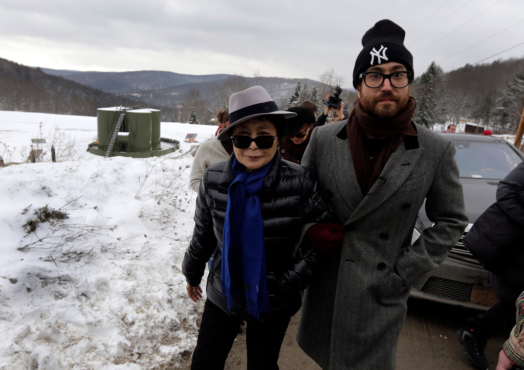 Description of . Yoko Ono, left, and her son Sean Lennon visit a fracking site in Franklin Forks, Pa., Thursday, Jan. 17, 2013. They are on a bus tour of natural-gas drilling sites in northeastern Pennsylvania and plan to visit with residents who say they've been harmed by the controversial extraction process known as fracking.(AP Photo/Richard Drew)