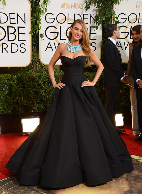 Description of . Sofia Vergara arrives at the 71st annual Golden Globe Awards at the Beverly Hilton Hotel on Sunday, Jan. 12, 2014, in Beverly Hills, Calif. (Photo by Jordan Strauss/Invision/AP)