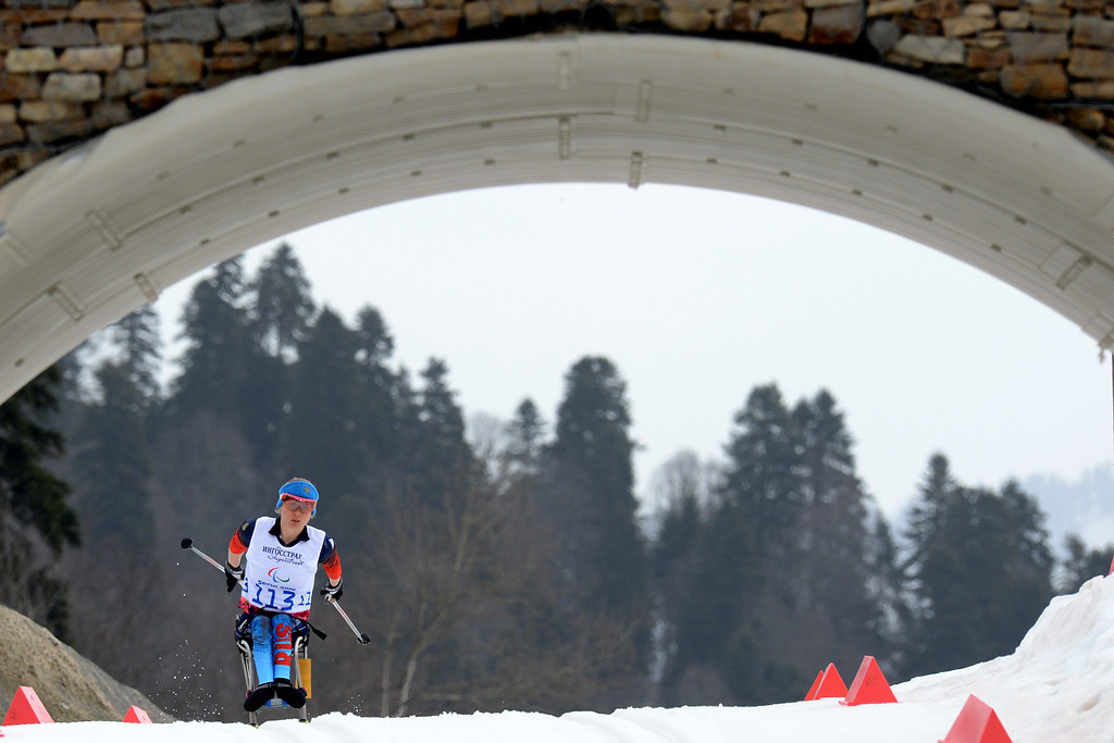 Description of . Russia's Svetlana Konovalova competes to get third place during Women's 12 km Cross-Country Ski Sitting at XI Paralympic Olympic games in the Rosa Khutor stadium near Sochi on March 9, 2014.   KIRILL KUDRYAVTSEV/AFP/Getty Images