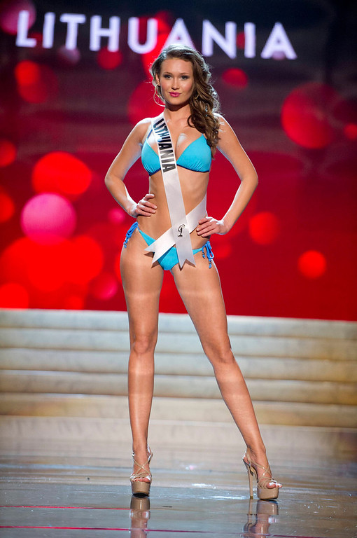 Description of . Miss Lithuania 2012 Greta Mikalauskyte competes during the Swimsuit Competition of the 2012 Miss Universe Presentation Show at PH Live in Las Vegas, Nevada December 13, 2012. The Miss Universe 2012 pageant will be held on December 19 at the Planet Hollywood Resort and Casino in Las Vegas. REUTERS/Darren Decker/Miss Universe Organization L.P/Handout