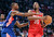 East Team's Chris Bosh of the Miami Heat guards West Team's Kevin Durant of the Oklahoma City Thunder during the first half of the NBA All-Star basketball game Sunday, Feb. 17, 2013, in Houston. (AP Photo/Eric Gay)