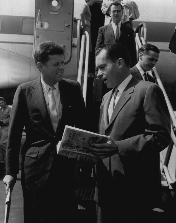 Description of . Then Vice President Richard Nixon, right, and then-Sen. John F. Kennedy arrived in Chicago on the same flight Sept. 19, 1959, and met by chance. Denver Post file