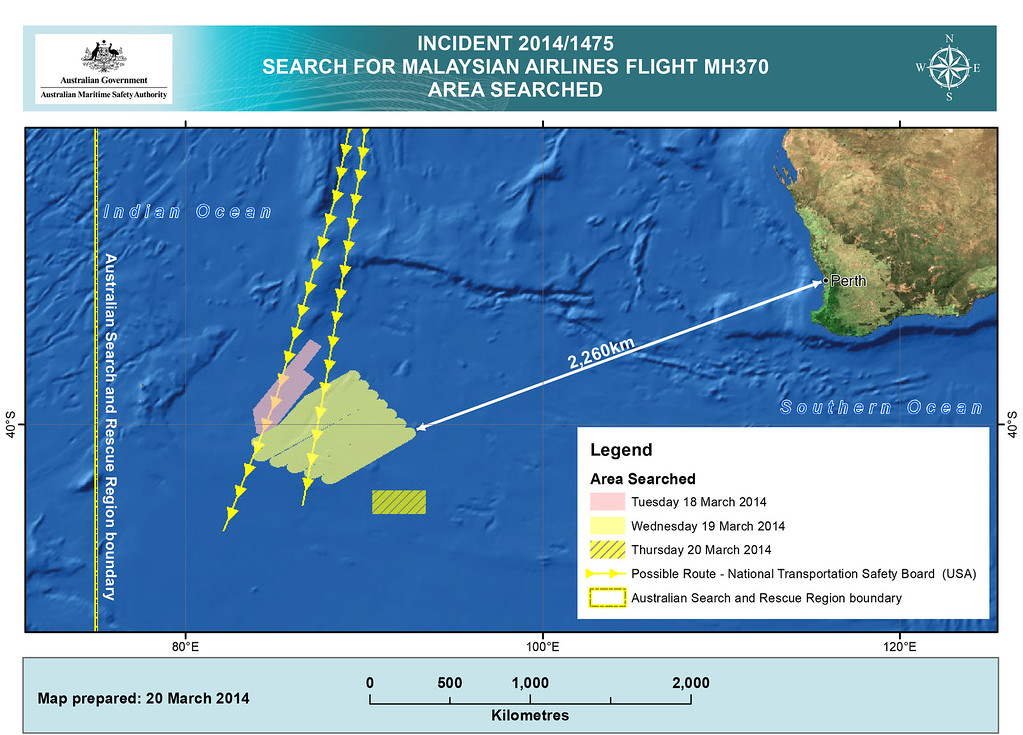 Description of . This handout Satellite image made available by the AMSA (Australian Maritime Safety Authority) shows a map  of the areas searched between March 18 and March 20, 2014 for missing Malaysian Airlines Flight MH370. Two objects possibly connected to the search for the passenger liner, missing for nearly two weeks after disappearing on a flight from Kuala Lumpur, Malaysia to Beijing, have been spotted in the southern Indian Ocean, according to published reports quoting Australian Prime Minister Tony Abbott. (Photo by AMSA via Getty Images)