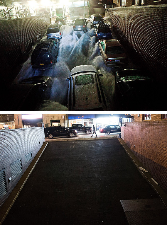 Description of . NEW YORK, NY - OCTOBER 29:  (top)  Rising water caused by Superstorm Sandy rushes into a parking garage on October 29, 2012 in New York City.  NEW YORK, NY - OCTOBER 22: Traffic drives past the garage (which is in use again) October 22, 2013 in New York City.  Hurricane Sandy made landfall on October 29, 2012 near Brigantine, New Jersey and affected 24 states from Florida to Maine and cost the country an estimated $65 billion.  (Photos by Andrew Burton/Getty Images)