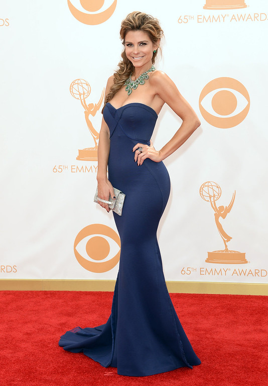 Description of . TV personality Maria Menounos arrives at the 65th Annual Primetime Emmy Awards held at Nokia Theatre L.A. Live on September 22, 2013 in Los Angeles, California.  (Photo by Jason Merritt/Getty Images)