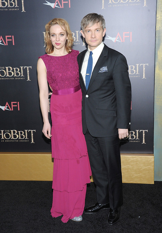 "Description of . Amanda Abbington and Martin Freeman attends ""The Hobbit: An Unexpected Journey\"" New York Premiere Benefiting AFI - Red Carpet And Introduction at Ziegfeld Theater on December 6, 2012 in New York City.  (Photo by Michael Loccisano/Getty Images)"
