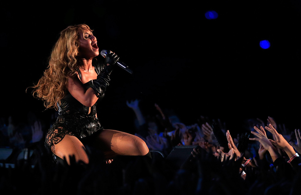 Description of . Singer Beyonce performs during the Pepsi Super Bowl XLVII Halftime Show at the Mercedes-Benz Superdome on February 3, 2013 in New Orleans, Louisiana.  (Photo by Jamie Squire/Getty Images)