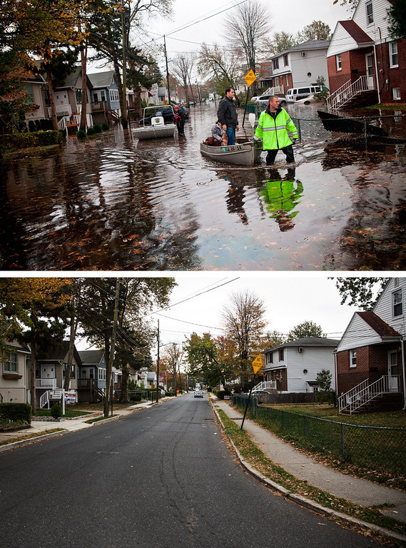 Description of . LITTLE FERRY, NJ - OCTOBER 30:  (top)   An emergency responder helps evacuate two people with a boat, after their neighborhood experienced flooding due to Superstorm Sandy October 30, 2012 in Little Ferry, New Jersey.  LITTLE FERRY, NJ - OCTOBER 22:  (bottom)  The same street is shown in Little Ferry, New Jersey October 22, 2013.  Hurricane Sandy made landfall on October 29, 2012 near Brigantine, New Jersey and affected 24 states from Florida to Maine and cost the country an estimated $65 billion.  (Photos by Andrew Burton/Getty Images)