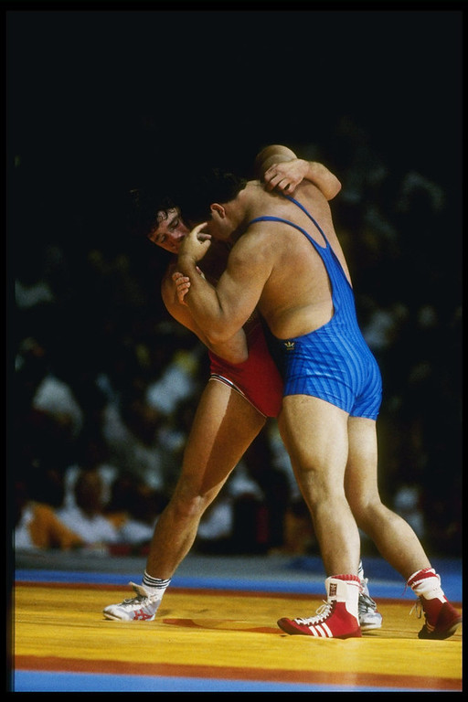 Description of . Jeff Blatnick of the United States in action during the 1984 Summer Olympics in Los Angeles, California.