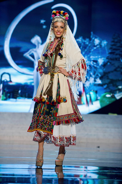 Description of . Miss Bulgaria Zhana Yaneva performs onstage at the 2012 Miss Universe National Costume Show at PH Live in Las Vegas, Nevada December 14, 2012. The 89 Miss Universe contestants will compete for the Diamond Nexus Crown on December 19, 2012. REUTERS/Darren Decker/Miss Universe Organization L.P./Handout