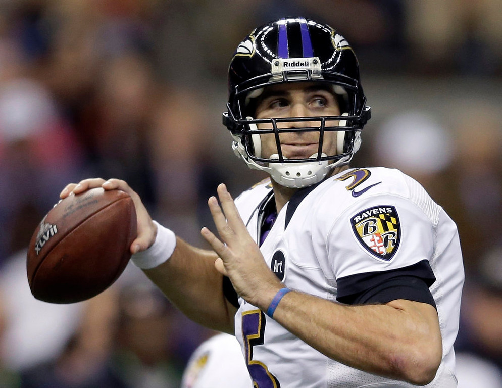 Description of . Baltimore Ravens quarterback Joe Flacco (5) looks to throw a pass during the first half of the NFL Super Bowl XLVII football game against the San Francisco 49ers in New Orleans on Feb. 3, 2013.   (AP Photo/Evan Vucci, FIle)