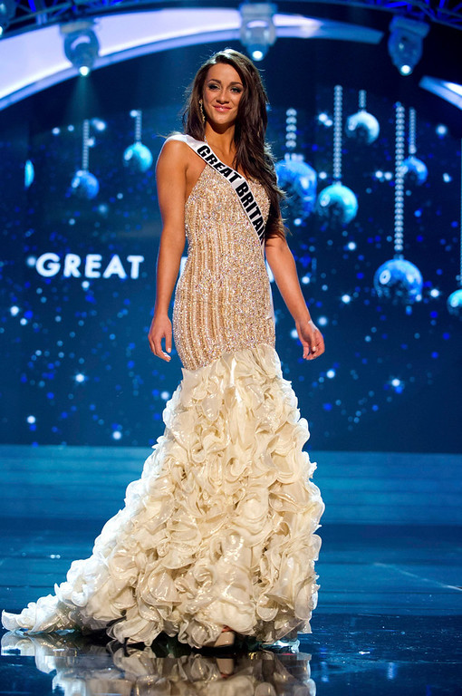 Description of . Miss Great Britain 2012 Holly Hale competes in an evening gown of her choice during the Evening Gown Competition of the 2012 Miss Universe Presentation Show in Las Vegas, Nevada, December 13, 2012. The Miss Universe 2012 pageant will be held on December 19 at the Planet Hollywood Resort and Casino in Las Vegas. REUTERS/Darren Decker/Miss Universe Organization L.P/Handout