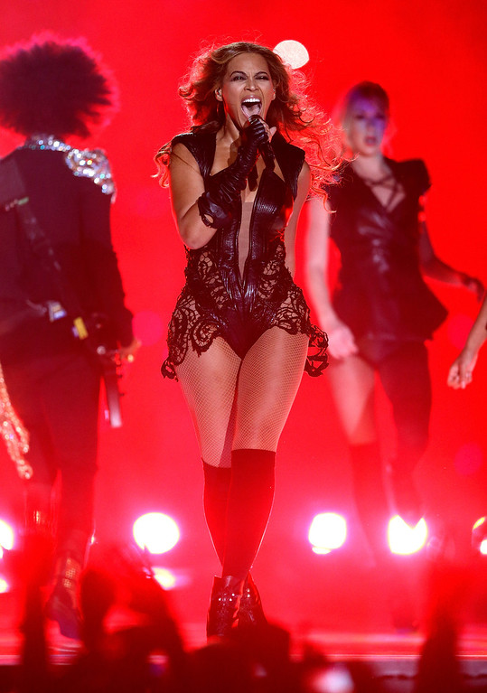 Description of . Singer Beyonce performs during the Pepsi Super Bowl XLVII Halftime Show at the Mercedes-Benz Superdome on February 3, 2013 in New Orleans, Louisiana.  (Photo by Ezra Shaw/Getty Images)