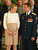 Eight months pregnant Princess Mathilde of Belgium talks to Russian Commander Serguey Zaletin on July 1, 2003 at the Royal Palace in Brussels, Belgium.  The Belgian Kingdom received the astronauts of the Odissea Mission in presence of Commander Serguey Zaletin and Colonel Frank De Winne.  (Photo by Mark Renders/Getty Images)