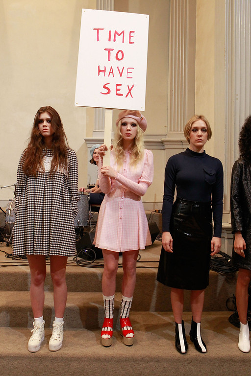 . NEW YORK, NY - FEBRUARY 09:  Models pose at the Chloe Sevigny for Opening Ceremony presentation during Mercedes-Benz Fashion Week at St. Mark\'s Church In The Bowery on February 9, 2013 in New York City.  (Photo by Mark Von Holden/Getty Images)