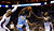 Denver Nuggets point guard Ty Lawson (3) works to drive between Charlotte Bobcats small forward Michael Kidd-Gilchrist (14) and center Brendan Haywood (L) during the first half of their NBA basketball game in Charlotte, North Carolina February 23, 2013. REUTERS/Chris Keane