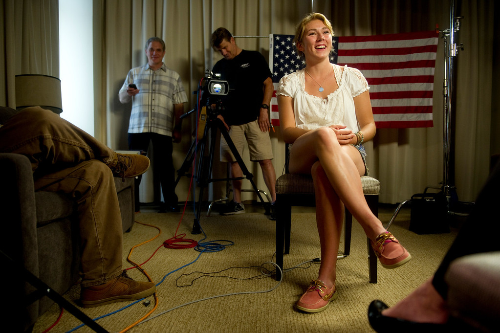 Description of . Mikaela Shiffrin interviews with former Olympic Skier Picabo Street in Avon, Co. on July 15, 2013. (Photo By Grant Hindsley/The Denver Post)