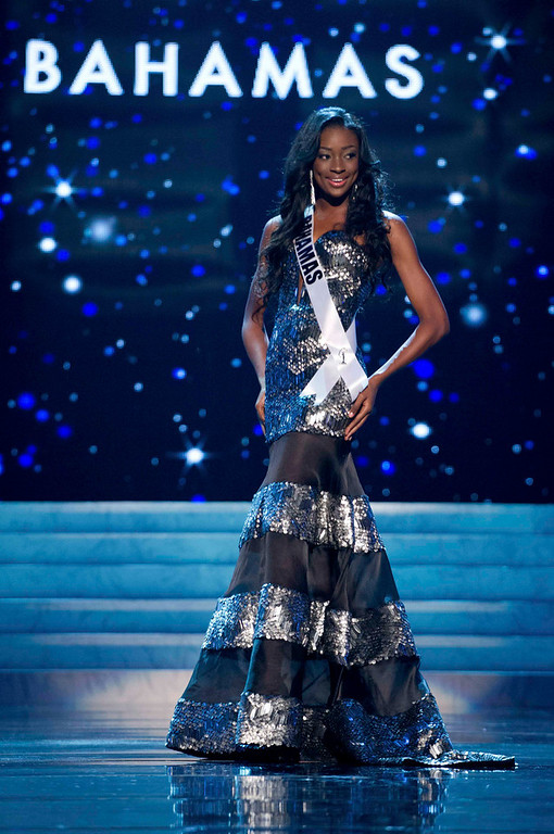 Description of . Miss Bahamas 2012 Celeste Marshall competes in an evening gown of her choice during the Evening Gown Competition of the 2012 Miss Universe Presentation Show in Las Vegas, Nevada, December 13, 2012. The Miss Universe 2012 pageant will be held on December 19 at the Planet Hollywood Resort and Casino in Las Vegas. REUTERS/Darren Decker/Miss Universe Organization L.P/Handout