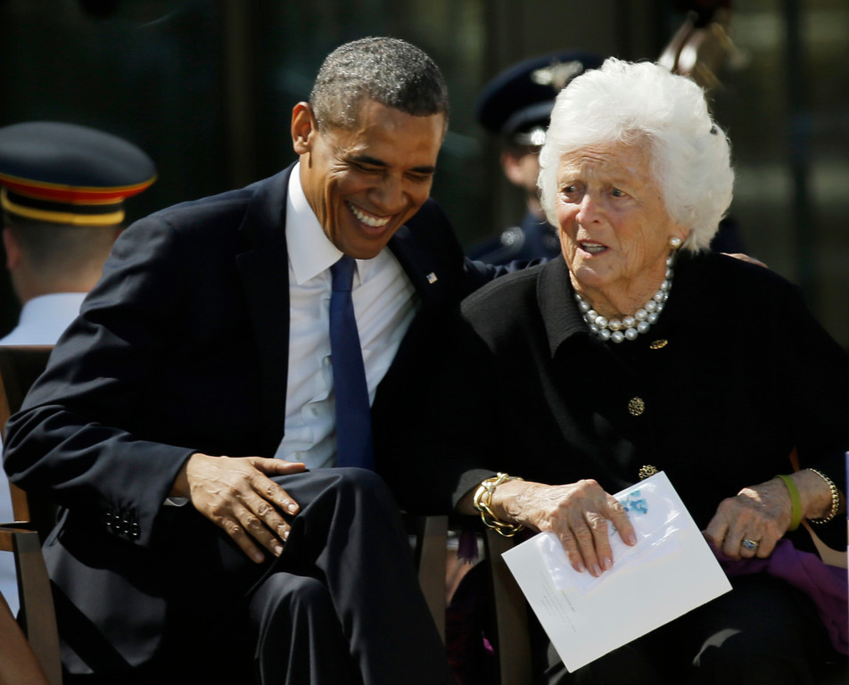 Description of . President Barack Obama laughs with former first lady Barbara Bush during the dedication of the George W. Bush Presidential Center Thursday, April 25, 2013, in Dallas. (AP Photo/David J. Phillip)