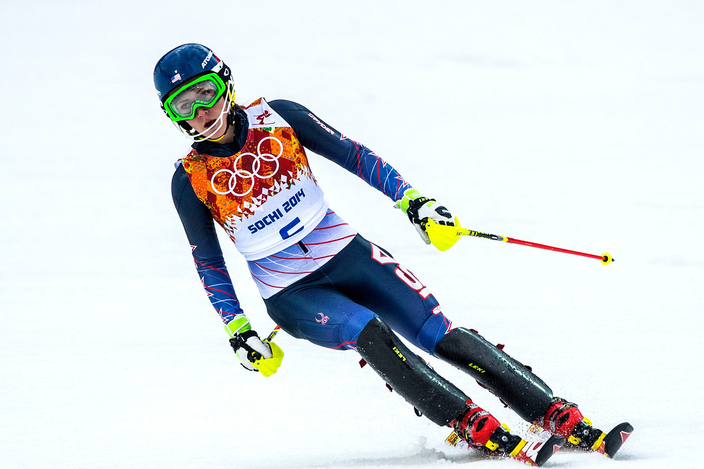 Description of . Mikaela Shiffrin, of Eagle-Vail, Colo., competes in run 1 of the women's slalom competition at Rosa Khutor Alpine Center during the 2014 Sochi Olympics Friday February 21, 2014. Shiffrin is currently winning with a time of 52.62. (Photo by Chris Detrick/The Salt Lake Tribune)