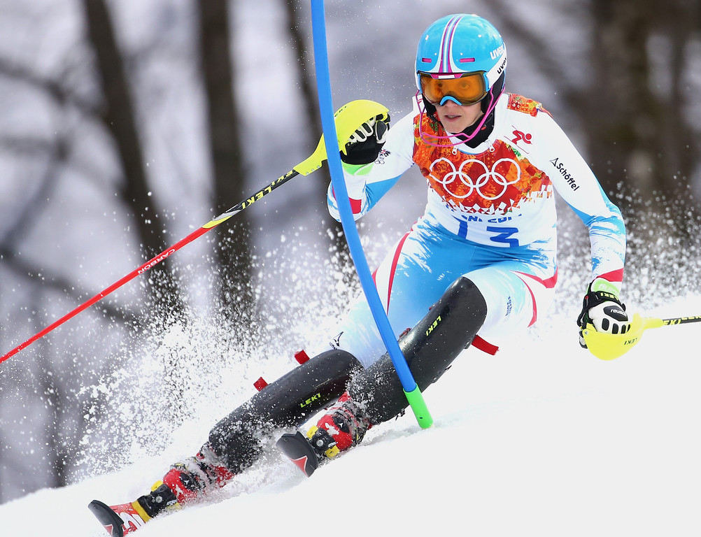 Description of . Michaela Kirchgasser of Austria in action during the first run of the Women's Slalom race at the Rosa Khutor Alpine Center during the Sochi 2014 Olympic Games, Krasnaya Polyana, Russia, 21 February 2014.  EPA/MICHAEL KAPPELER