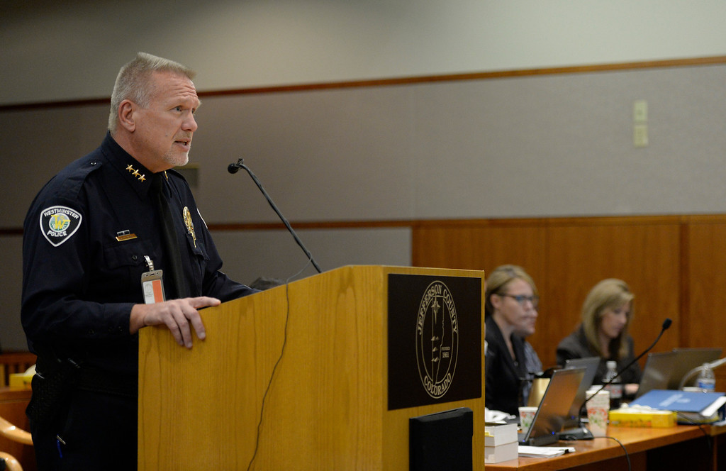 Description of . City of Westminster Police Chief Lee Birk speaks during Austin Sigg's sentencing hearing in Jefferson County Court, in Golden, November 18, 2013. Sigg, who pleaded guilty to the kidnapping and murder of 10-year-old Jessica Ridgeway, was in Courtroom 1-A with Chief Judge Stephen M. Munsinger presiding over the hearing. (Photo by RJ Sangosti/The Denver Post)