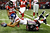 Domenik Hinxon #87 of the New York Giants dives for more yardage over Dunta Robinson #23 of the Atlanta Falcons at Georgia Dome on December 16, 2012 in Atlanta, Georgia.  (Photo by Kevin C. Cox/Getty Images)