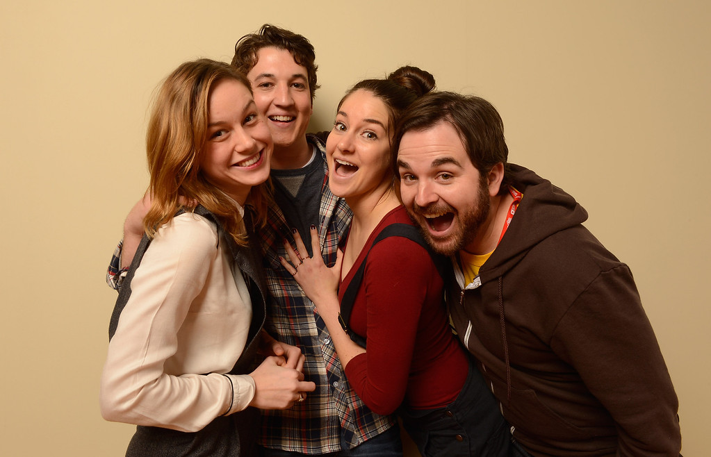 Description of . (L-R) Actors Brie Larson, Miles Teller, Shailene Woodley and director James Ponsoldt pose for a portrait during the 2013 Sundance Film Festival at the Getty Images Portrait Studio at Village at the Lift on January 18, 2013 in Park City, Utah.  (Photo by Larry Busacca/Getty Images)