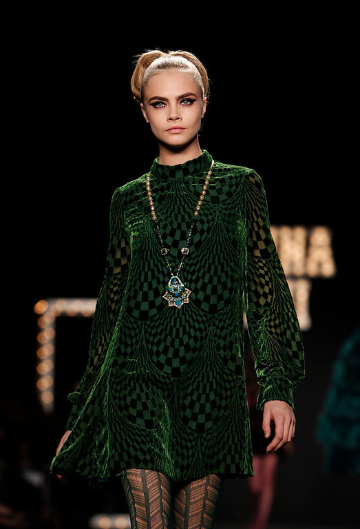 Description of . The Anna Sui Fall 2013 collection is modeled during Fashion Week, Wednesday, Feb. 13, 2013 in New York. (AP Photo/Jason DeCrow)