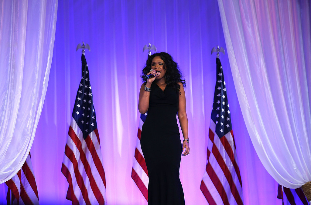 Description of . WASHINGTON, DC - JANUARY 21:  Singer Jennifer Hudson performs during the Inaugural Ball at the Walter E. Washington Convention Center on January 21, 2013 in Washington, DC. U.S. President Barack Obama was sworn-in for a second term earlier in the day.  (Photo by Alex Wong/Getty Images)