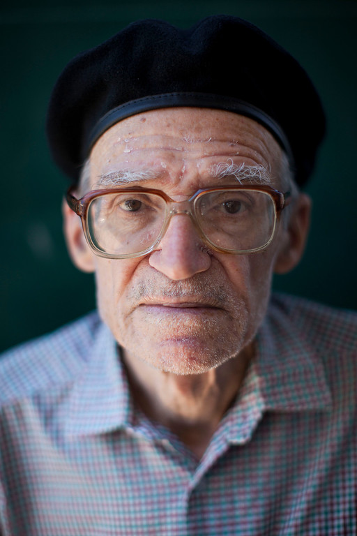 Description of . Nissim Pinto, 79, poses for a photo in Tel Aviv, Israel on Thursday, July 4, 2013. When asked: As you grow older, what are you most afraid of and what is the biggest problem facing the elderly in your country? Pinto said,