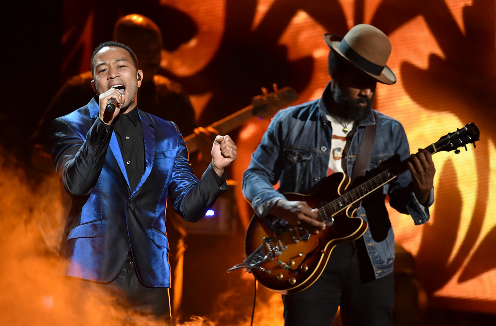 Description of . Musicians John Legend (L) and Cody Chesnutt perform onstage during the BET AWARDS '14 at Nokia Theatre L.A. LIVE on June 29, 2014 in Los Angeles, California.  (Photo by Kevin Winter/Getty Images for BET)